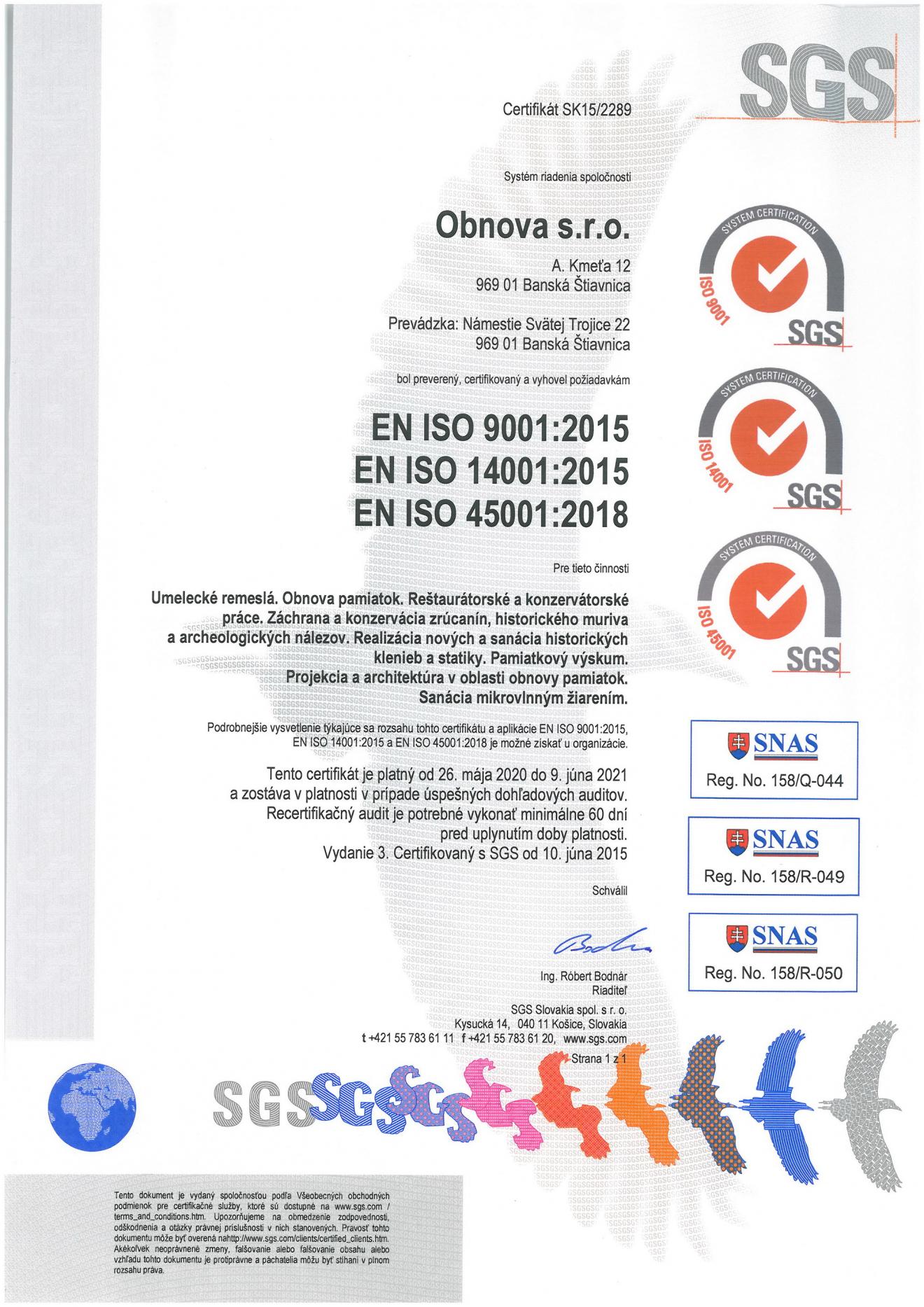 Aktualizácia certifikácie na základe noriem