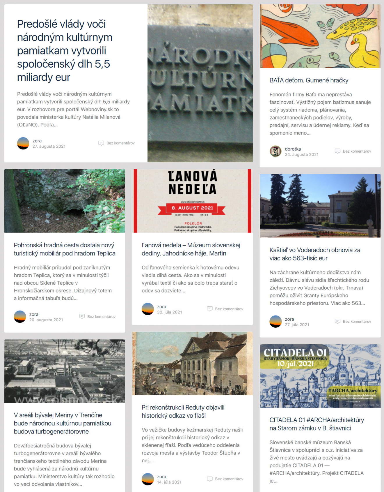 Články z oblasti kultúrneho dedičstva na eMail